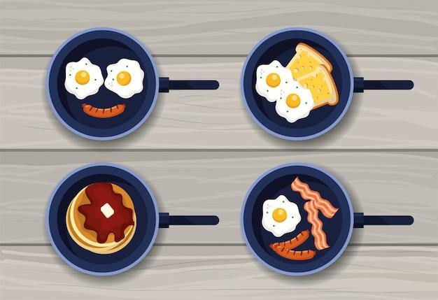 Définir des œufs sur le plat avec des crêpes et des saucisses