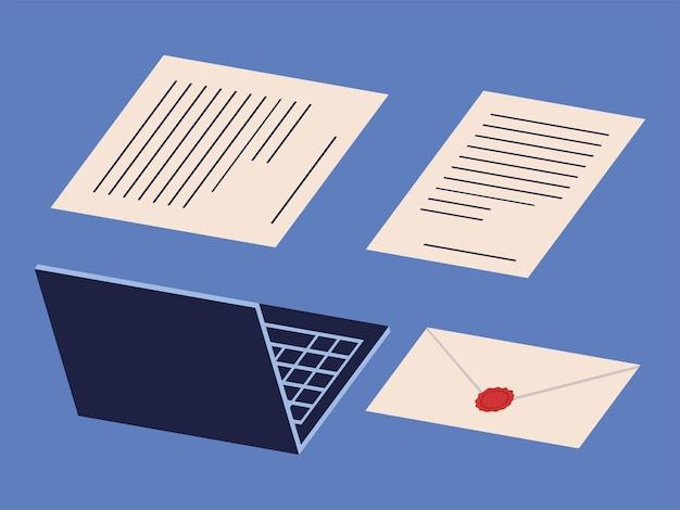 Définir l'ordinateur portable et la paperasse