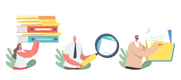 Définir l'organisation des fichiers, la gestion des documents. personnages d'affaires avec dossiers, loupe et documents papier. stockage d'archives de données, catalogue de bases de données d'informations. illustration vectorielle de dessin animé