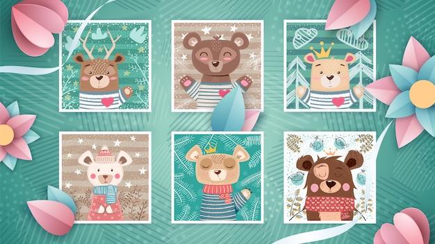 Définir un ours mignon - idée de carte de voeux