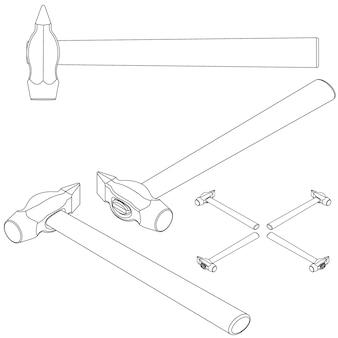 Définir des outils isométriques sur fond blanc