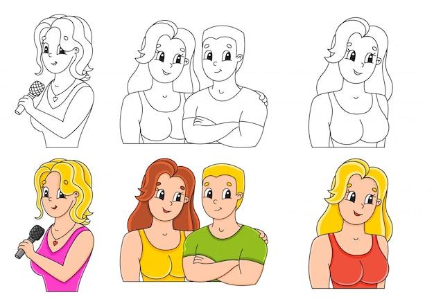 Définir la page de coloriage pour les enfants. gens heureux.