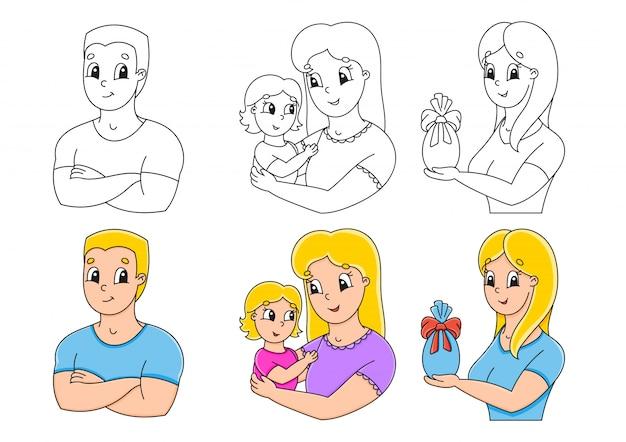 Définir la page de coloriage pour les enfants.