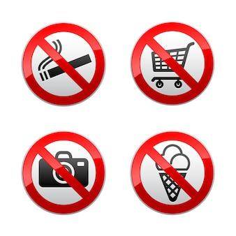Définir des panneaux interdits - symboles de supermarché