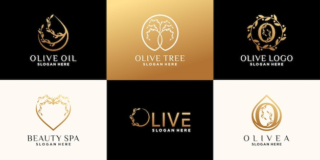 Définir le paquet de modèle de conception de logo d'olive avec un concept unique créatif vecteur premium
