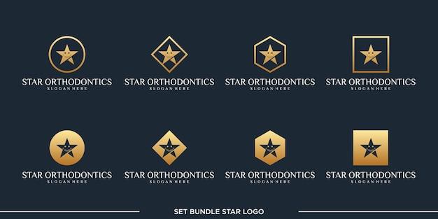 Définir le paquet de vecteur de conception de logo star orthodontics premium