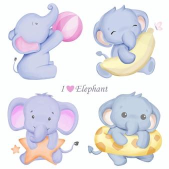 Définir le personnage éléphant animal mignon avec illustration aquarelle