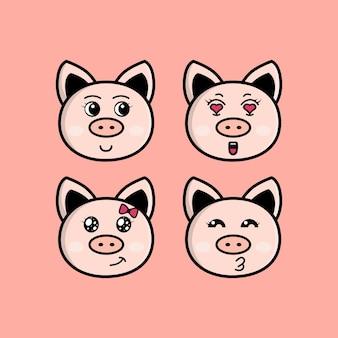 Définir le personnage de tête de dessin animé mignon cochon avec illustration vectorielle d'expression différente