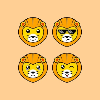 Définir le personnage de tête de dessin animé mignon lions avec illustration vectorielle d'expression différente