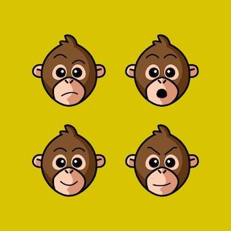 Définir le personnage de tête de dessin animé de singe mignon avec illustration vectorielle d'expression différente