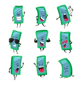 Définir les personnages de dessin animé de téléphone portable.