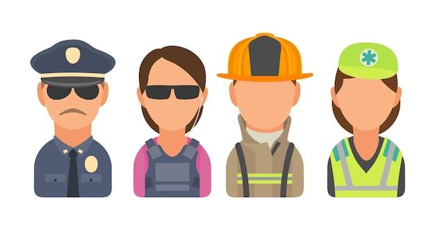 Définir les personnes de caractère icône. police, garde du corps, pompier, ambulancier. télévision illustration vectorielle sur cercle turquoise