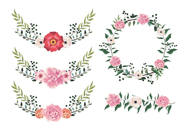 Définir des plantes de fleurs et de roses avec des feuilles branches
