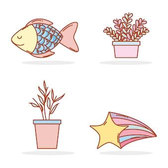 Définir des plantes naturelles avec des poissons tropicaux et une étoile filante