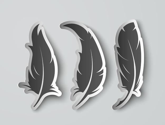 Définir des plumes de papier isolées avec des ombres