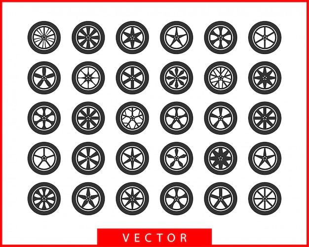 Définir les pneus et les roues. icône de voiture à roue de disque.