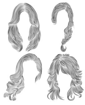 Définir les poils longs de femme. croquis de dessin au crayon noir. style de beauté de la mode féminine. frange boucles cascade tresse.