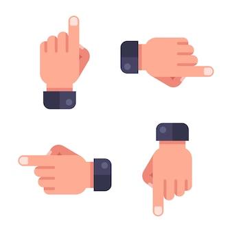 Définir le pointeur. la main montre la direction. illustration plate.
