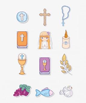 Définir la première décoration de communion à un événement traditionnel