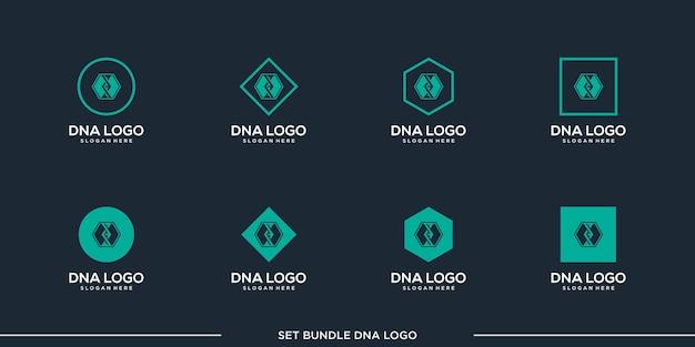 Définir la prime de paquet de vecteur de conception de logo d'adn