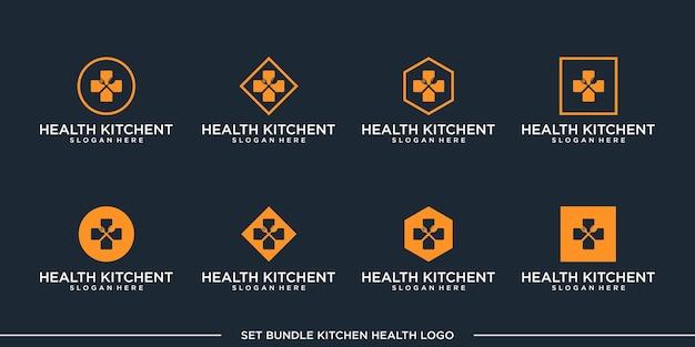 Définir la prime de paquet de vecteur de conception de logo de cuisine de santé