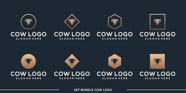 Définir la prime de paquet de vecteur de conception de logo de vache