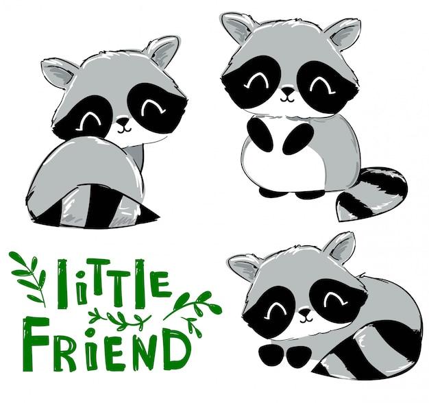 Définir les ratons laveurs mignons dessinés à la main. personnage de dessin animé. imprimé enfant sur t-shirt. illustration. manuscrite - petits amis
