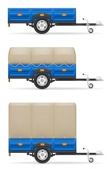 Définir la remorque de voiture des icônes pour le transport