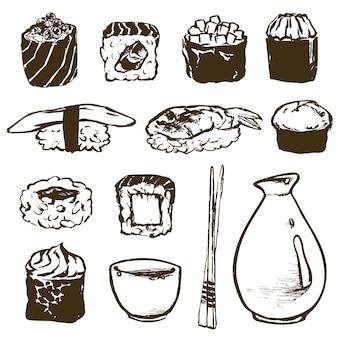 Définir les rouleaux de sushi et les fruits de mer japonais l au saumon, anguille fumée, vecteur alimentaire sélectif. restaurant de cuisine asiatique délicieux. illustration