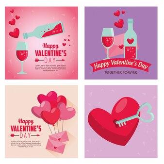 Définir la saint-valentin avec des ballons de potion d'amour et de coeurs