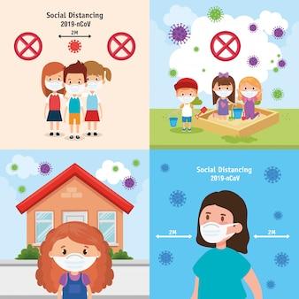 Définir des scènes d'enfants à l'aide de la conception d'illustration de masque facial