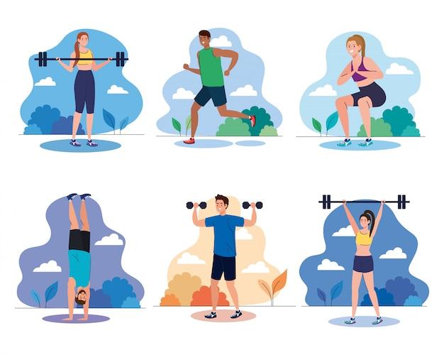 Définir des scènes jeunes pratiquant des exercices en plein air, concept de loisirs sportifs