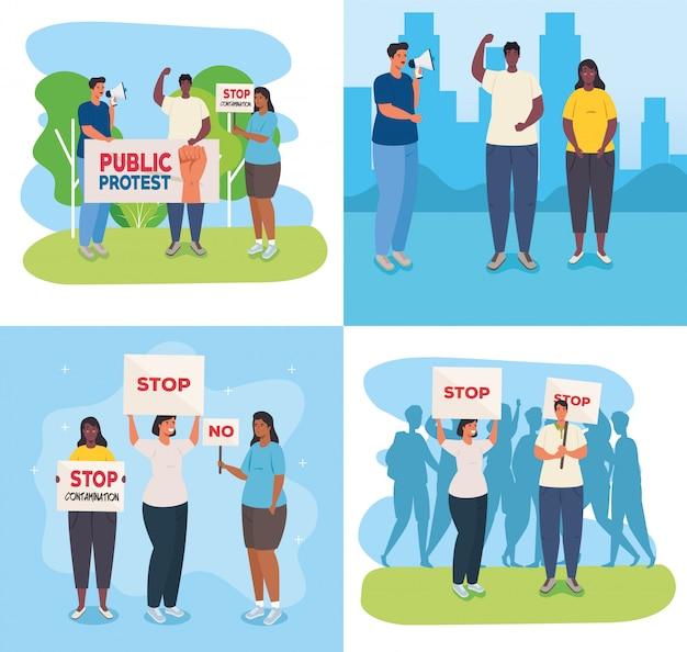 Définir des scènes de personnes dans des manifestations avec des pancartes, concept de droit de l'homme