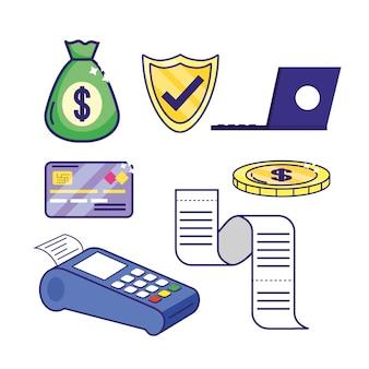 Définir des services bancaires en ligne avec un ordinateur portable électronique et un dataphone