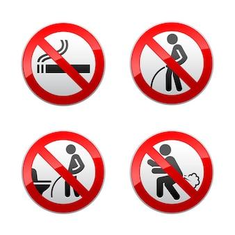 Définir les signes interdits - autocollants de toilette