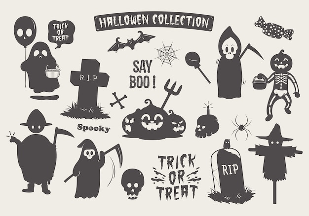 Définir la silhouette de halloween silhouette doodle