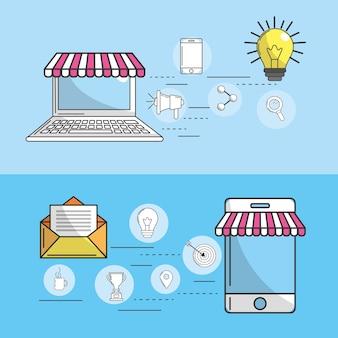 Définir la société avec l'icône des outils technologiques