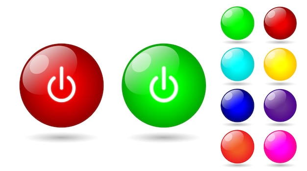 Définir un style brillant de bouton marche et arrêt coloré