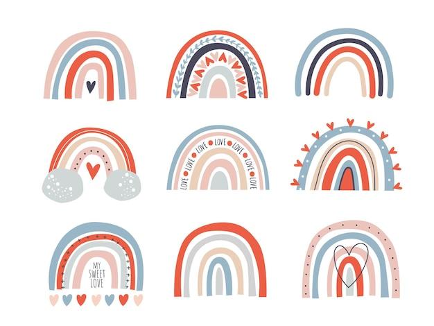 Définir le style de dessin animé d'arcs-en-ciel isolé