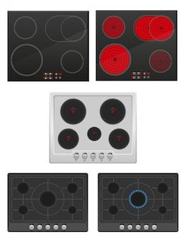 Définir la surface pour l'illustration vectorielle cuisinière à gaz et électrique