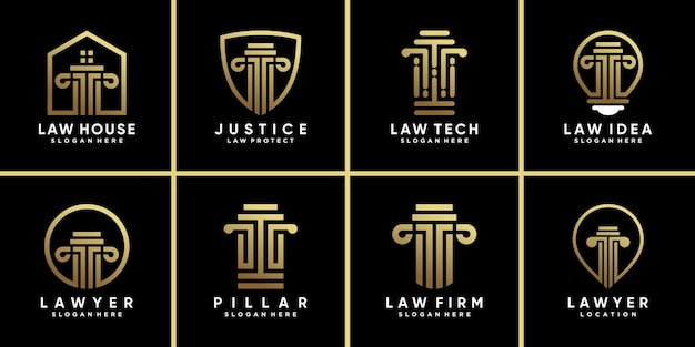 Définir le symbole de paquet du modèle de conception de logo de loi avec la couleur de style dégradé doré