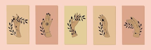 Définir le talisman céleste ésotérique d'alchimie avec des mains de femme illustrations vectorielles