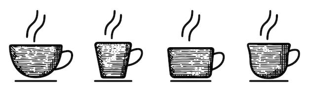 Définir la tasse de café doodle