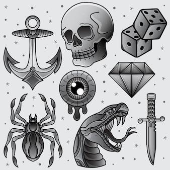 Définir un tatouage flash noir et blanc