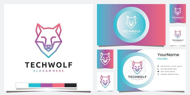 Définir la technologie du logo avec l'inspiration de conception de logo tête loup ligne art style