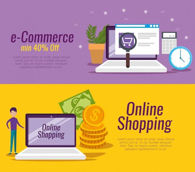 Définir la technologie d'ordinateur portable dans un magasin numérique