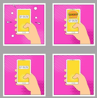 Définir le téléphone comic avec les ombres en demi-teintes. main tenant le smartphone. style rétro pop art.