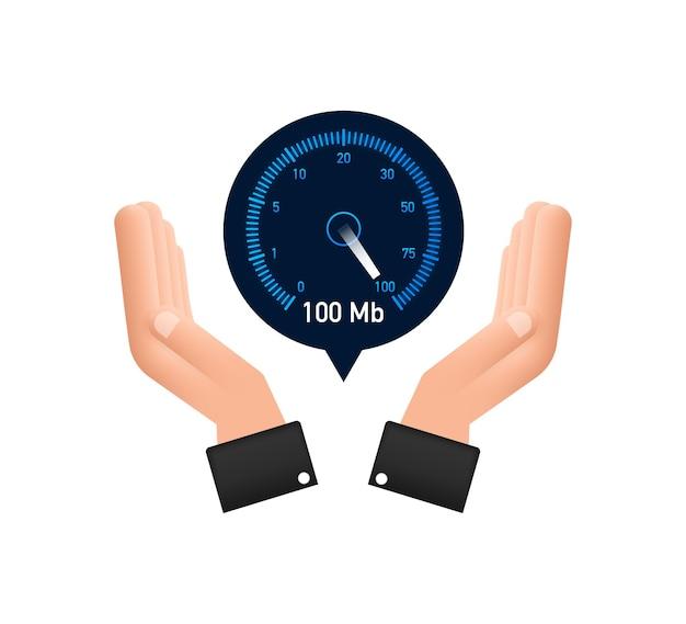 Définir le test de vitesse dans les mains compteur de vitesse vitesse internet temps de chargement de la vitesse du site web