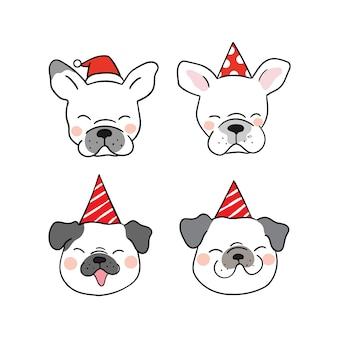 Définir la tête de chien drôle avec chapeau de fête de beauté