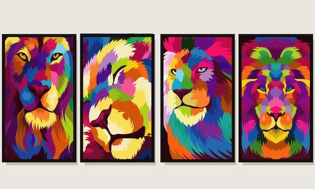Définir la tête de lion colorée illustration avec style pop art